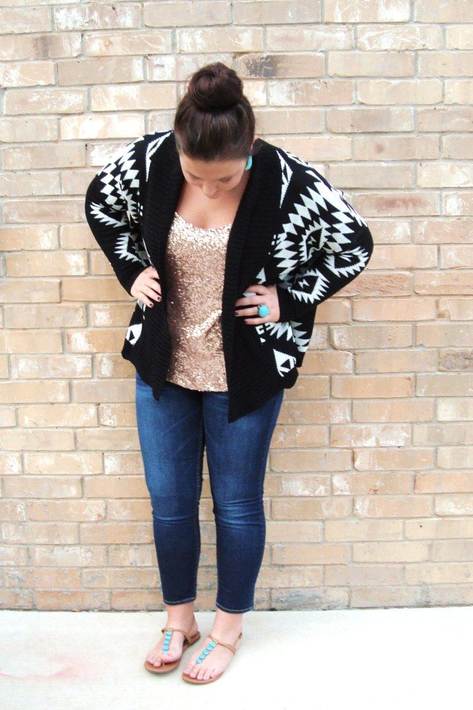 Aztec sweater with sequined tank top southern style pinterest