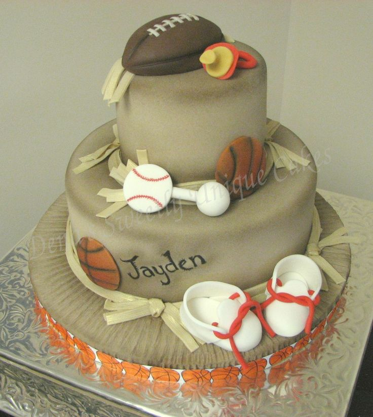 Cake Decorations For Sports : Sports Theme Boy Shower Cake Baby Shower Ideas Pinterest