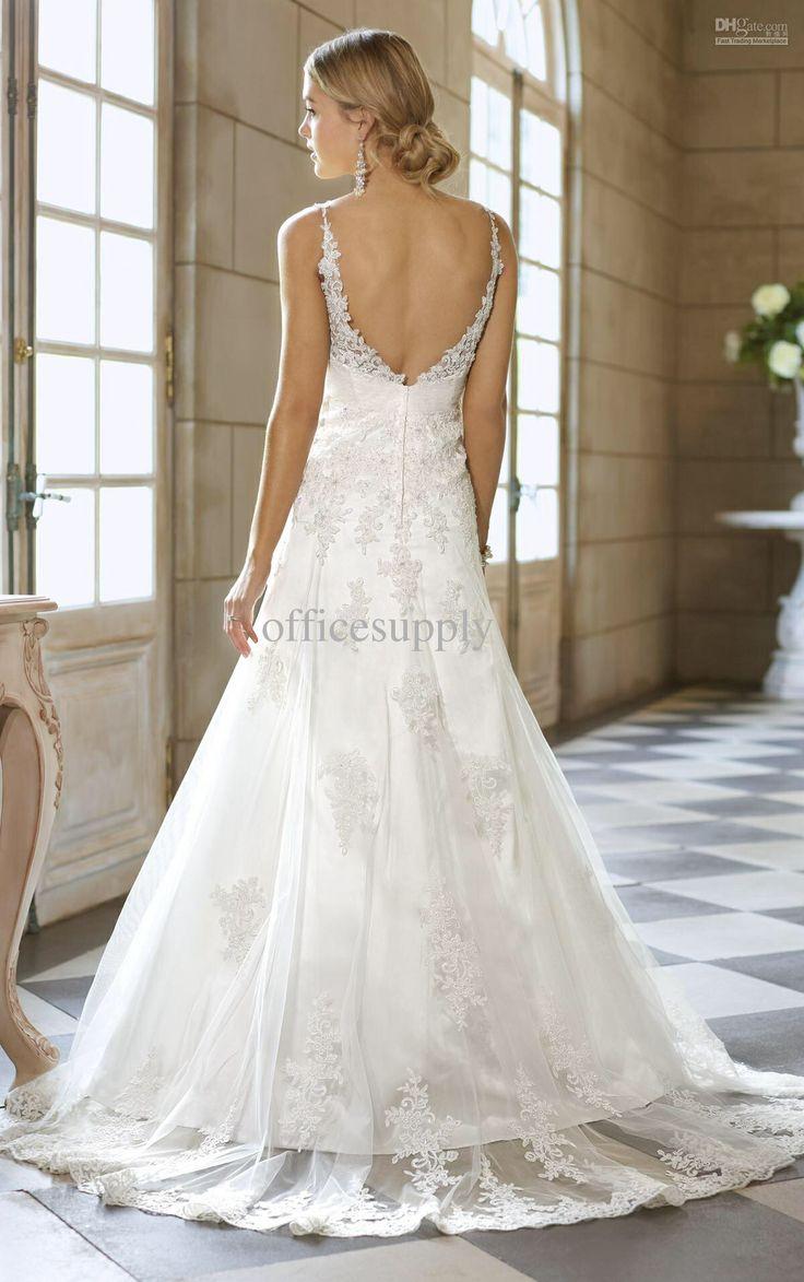 Wedding Dress Thin Lace Straps : Thin strap beach dress with low back wedding dresses