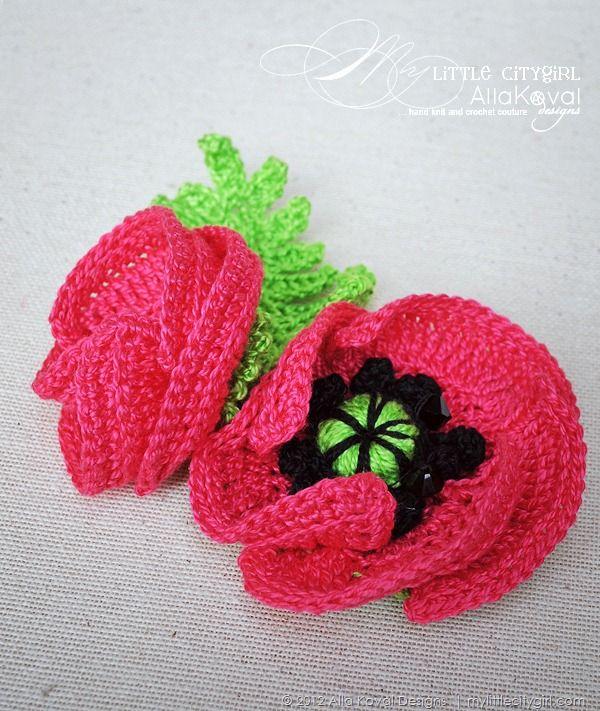 Crochet Poppies Crochet Flowers & Leaves Pinterest