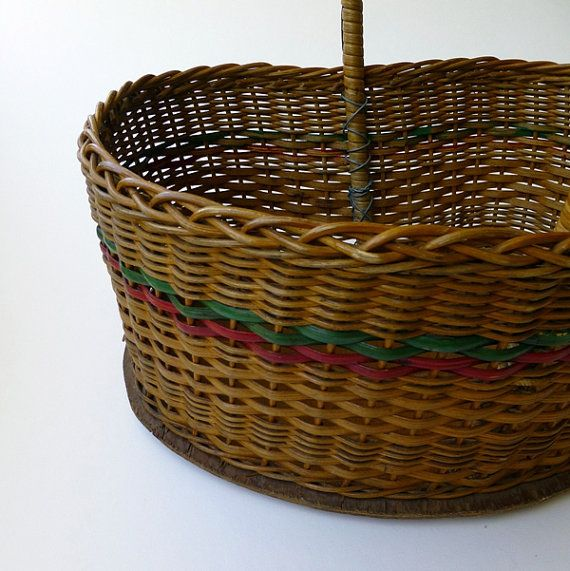 How To Weave A Cane Basket : Vintage wicker ping basket woven cane with