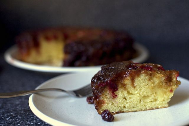 Upside-down cranberry cake | Cranberry recipes | Pinterest