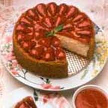 ... lemon-scented cheesecake topped with glazed fresh strawberries and