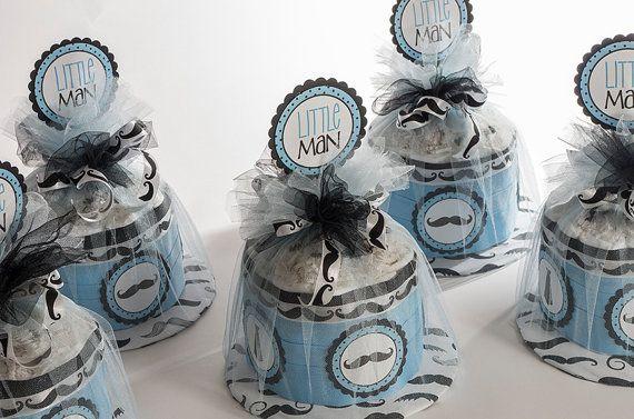 little man mustache mini diaper cakes baby shower centerpieces