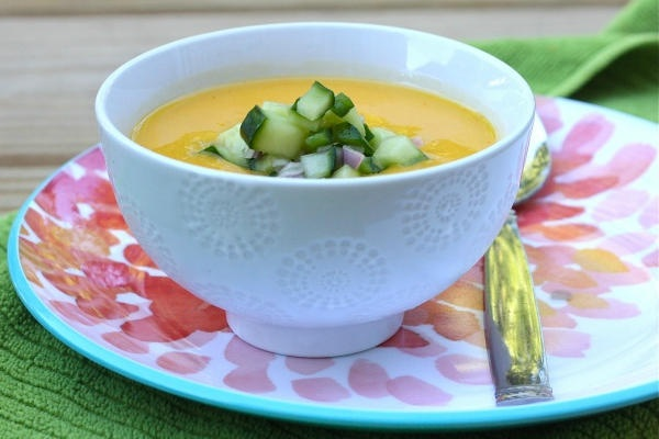 Sweet mango provides the main flavor base to this chilled soup ...