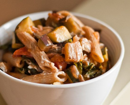 Eggplant, Zucchini, Kale, and Tomatoes with Whole Wheat Penne Recipe