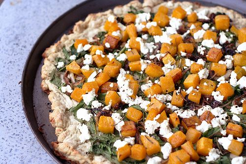 Butternut Squash, Arugula and Goat Cheese Pizza {gluten-free}