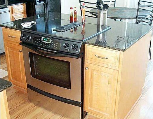 Slide in stove on island kitchens pinterest