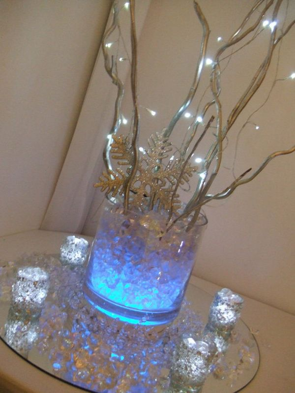 Christmas centerpiece with lighted branches christmas for Led christmas decorations