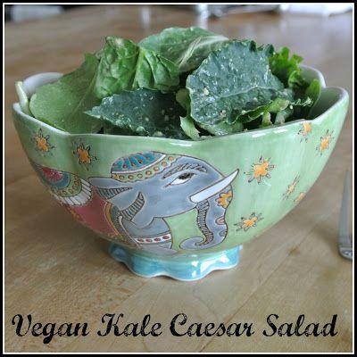 Vegan Kale Caesar Salad | gluten free salads, sides and veggies | Pin ...