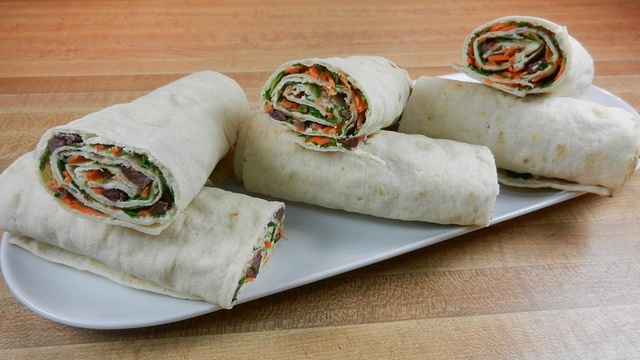 Arugula, Carrot, Olive and Herbed Cheese Provencal Wraps