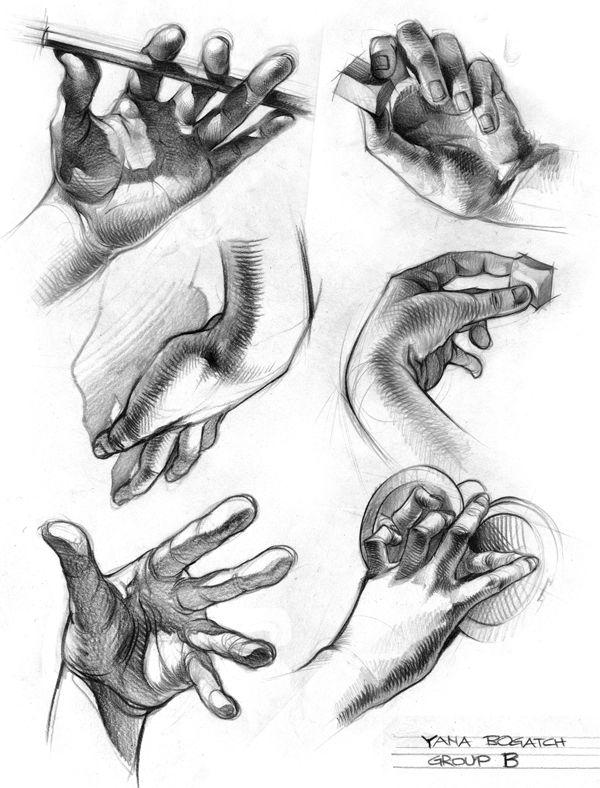 como dibujar las sombras de una mano