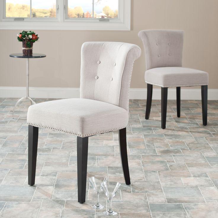 Bordeaux Beige Linen Nailhead Dining Chairs Set Of 2