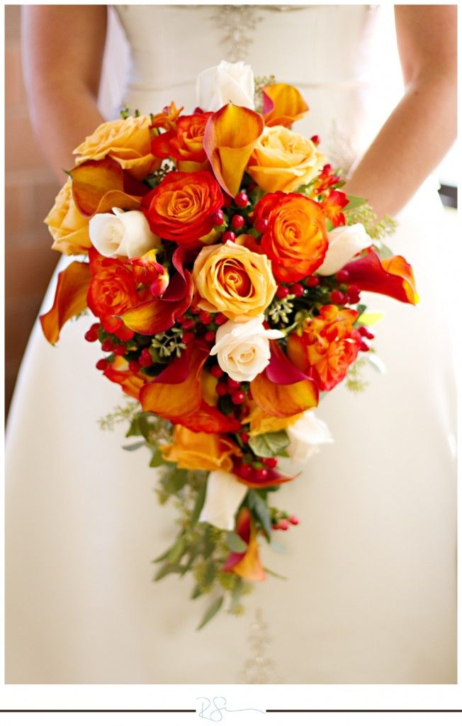 Fall Wedding Bouquets Bridesmaids : Fall orange teardrop bridal bouquet wedding ideas