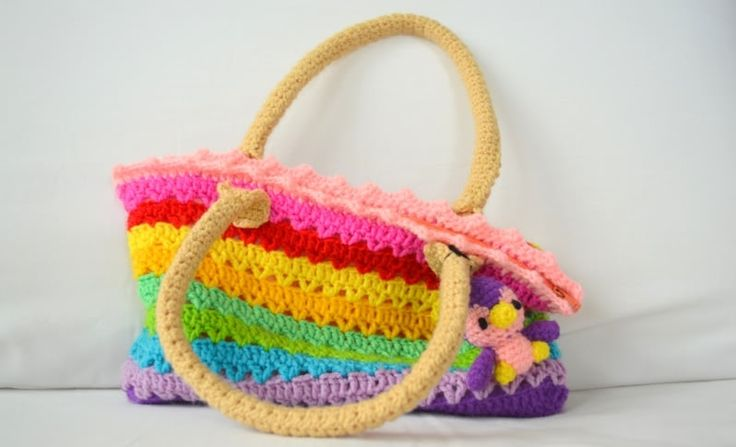 Rainbow crochet bag bags Pinterest