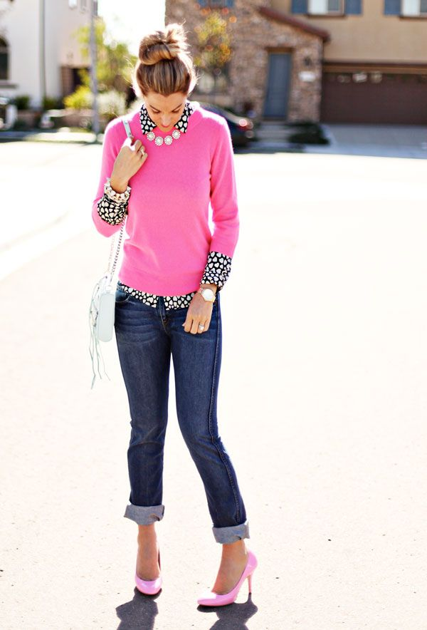 "A Little Dash of Darling: Skinny Boyfriend Jeans. I love this look. A pop of pink and a heart patterned blouse and a pretty chunky necklace and pink heels. What fun! Oh and the ""boyfriend jeans""."