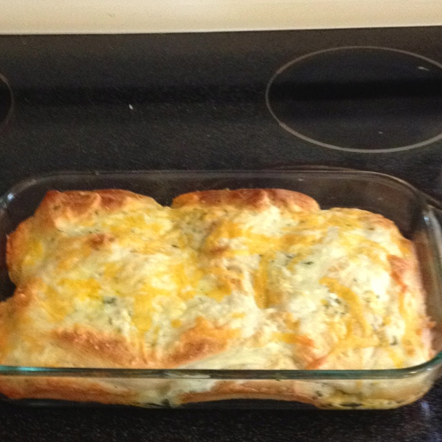Cheesy garlic bread made from Pillsbury Grands. I have to say, delicious and genius. Haha.