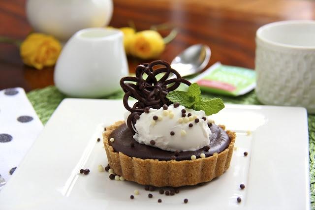 Peanut Butter Tart w/ Shortbread Crust & Chocolate Ganache Glaze