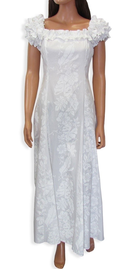White hawaiian wedding dress muumuu sz xs 2xl honolulu for Hawaiian dresses for weddings