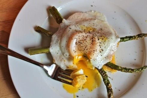with asparagus and an egg. making this right now (but with creamy ...