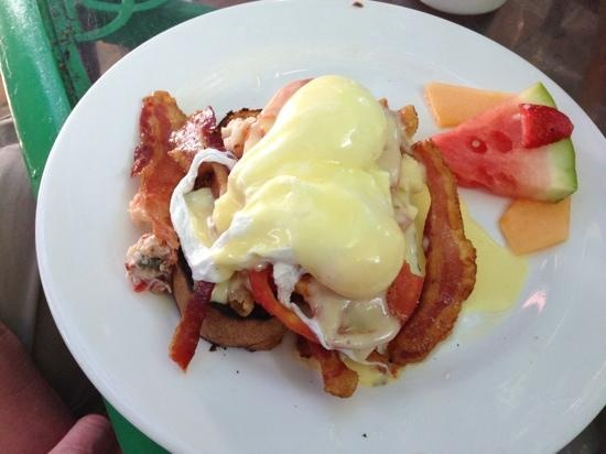 Lobster Eggs Benedict from Blue Heaven Restaurant in Key West, Florida