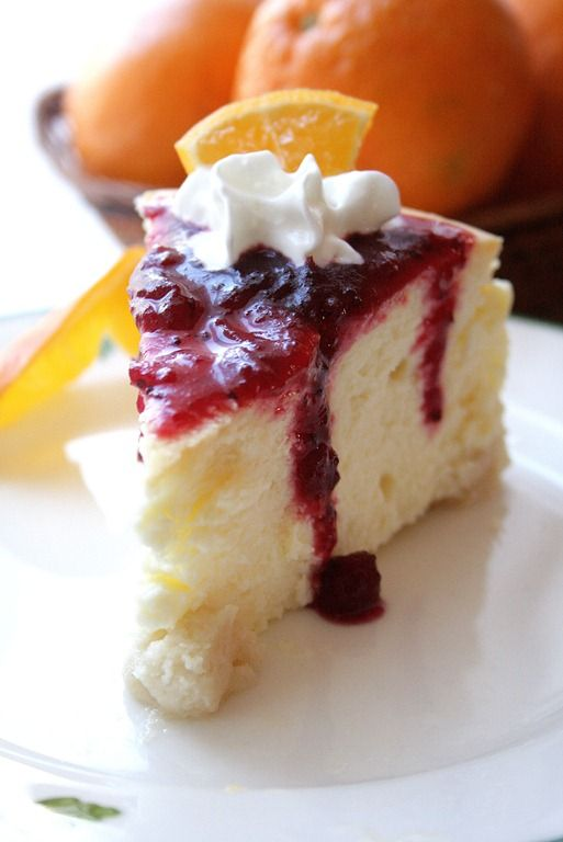 cranberry cointreau sauce ricotta cheesecake with caramel orange sauce ...