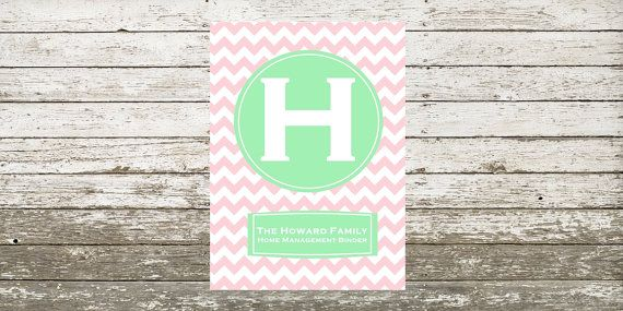 Home Management Binder Cover and Spine Green & Pink by Sightly, $5.00