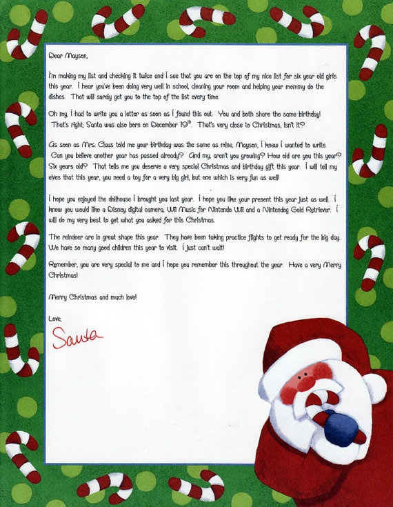 FREE Shipping Fully Personalized Santa Letter by EZSantaLetters, $8.95