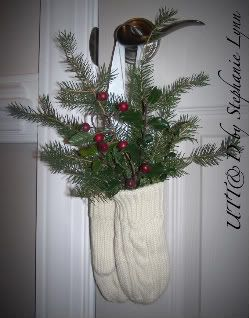 mittens with spruce and berries!