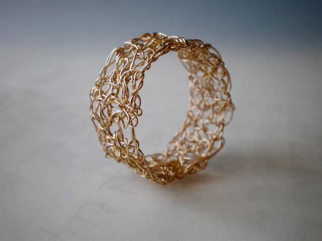 Crochet Ring : Gold crochet wire ring Wire Crochet Pinterest
