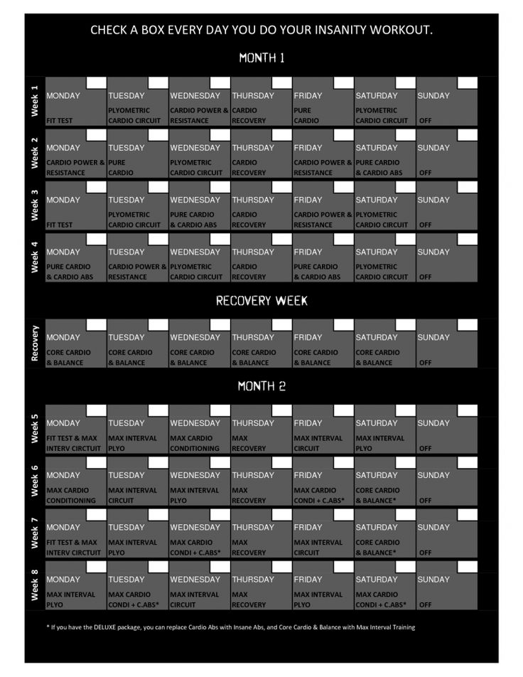shaun t insanity workout calendar | insanity schedule