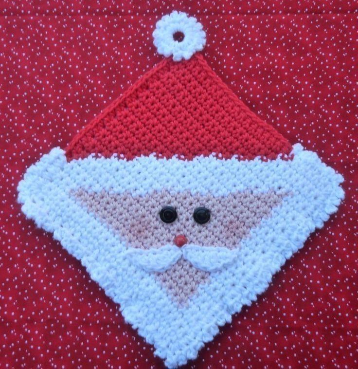 Free Crochet Pattern Christmas Potholder : Santa Potholder Crochet PATTERN - INSTANT DOWNLOAD