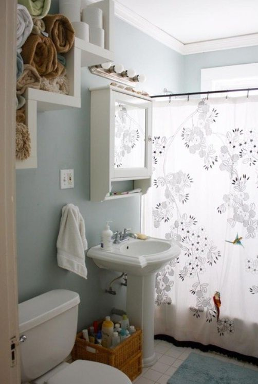 Grey Blue Small Bathroom Decorating Decor Pinterest