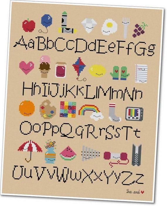 Kawaii Alphabet Sampler Crossstitch PDF by weelittlestitches, $12.00