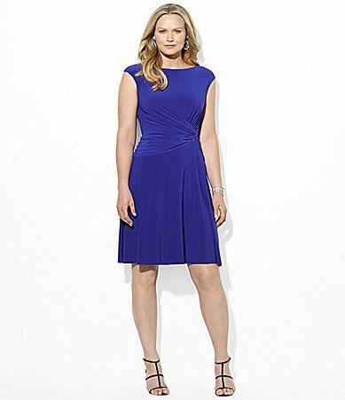 Lauren Ralph Lauren Woman Side Knot Dress - navy backdrop, tiny lime