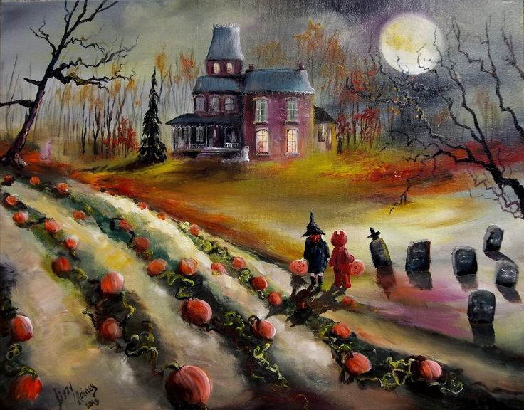 Halloween Haunted House Paintings