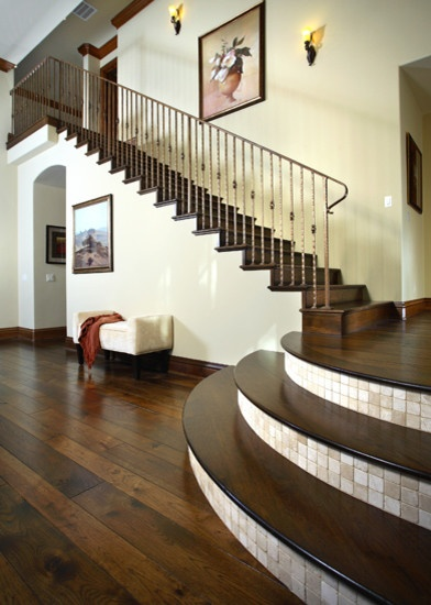 Love the tile between the stairs for the home pinterest - Stairs with tile and wood ...
