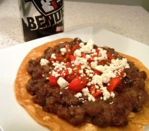 Surly Bender Chipotle Black Bean Tostadas (via Cooking with Surly)
