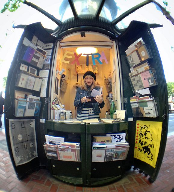 Brilliant repurposing of an old news kiosk into...a news kiosk. We need more of these. Edicola - pop up zine shop on Market St. by docpop, via Flickr