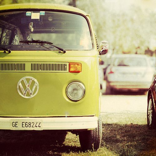 Road Trip! Chartreuse VW Bus.