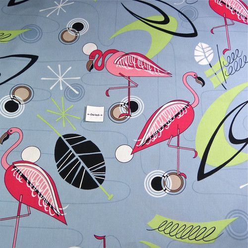 Cotton Fabric Per Yard Miami Style Retro Pink Flamingos on Gray '50s ...