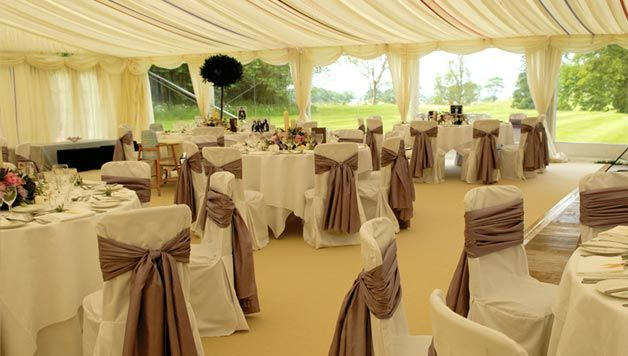Marquee lining with hessian chair sashes country chic for Asian wedding decoration hire