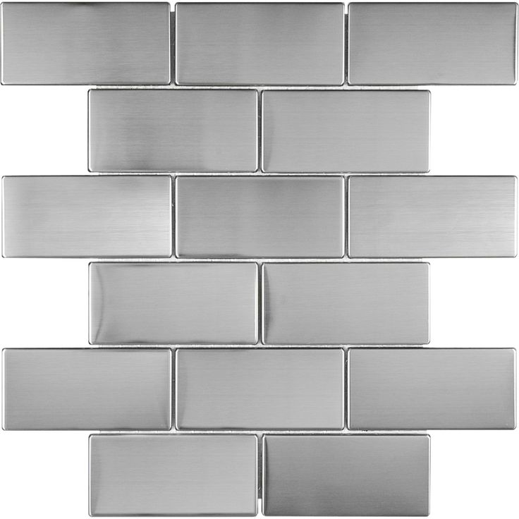 stainless steel metal mosaic subway wall tile common 12 in x 12 in