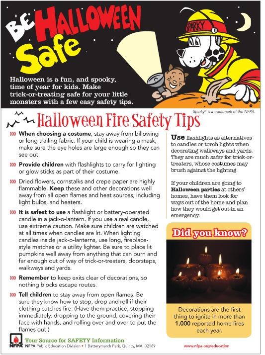 Halloween FIRE Safety Tips Halloween Pinterest