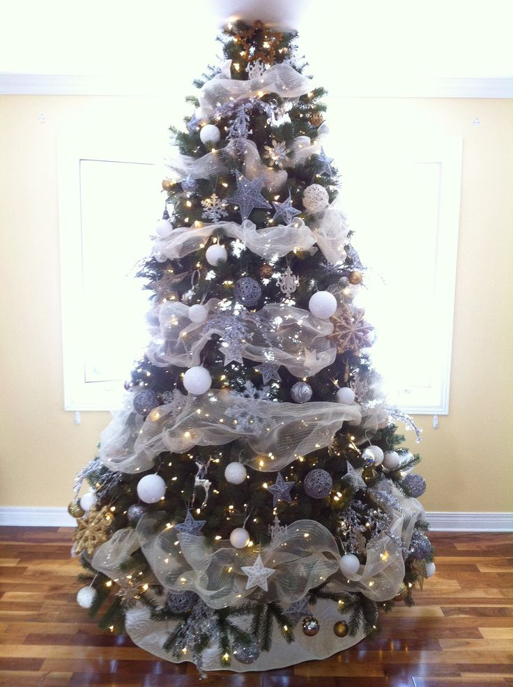 white gold silver christmas tree christmas pinterest