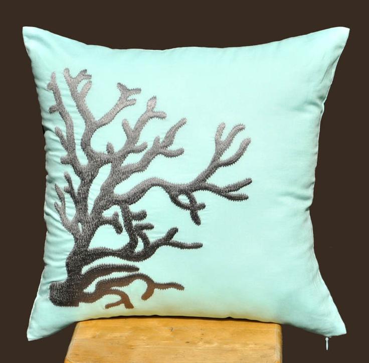 Nautical Decorative Throw Pillows : Coral Pillow Cover, Nautical Decor, Decorative Throw Pillow Cover, 18?