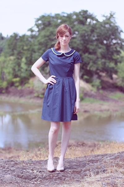 Navy peter pan collar handmade dress