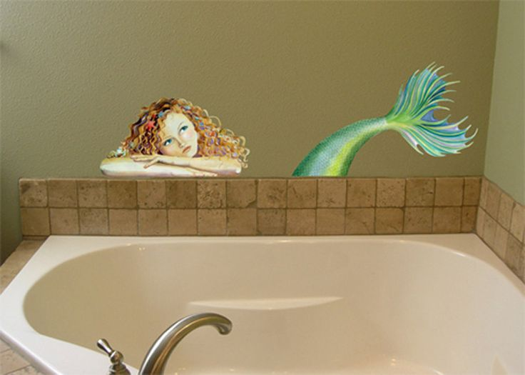 Wall decal mermaid mermaids pinterest - Mermaid decor bathroom ...
