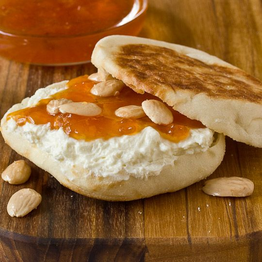 snack recipe english muffins with apricot preserves amp feta spread