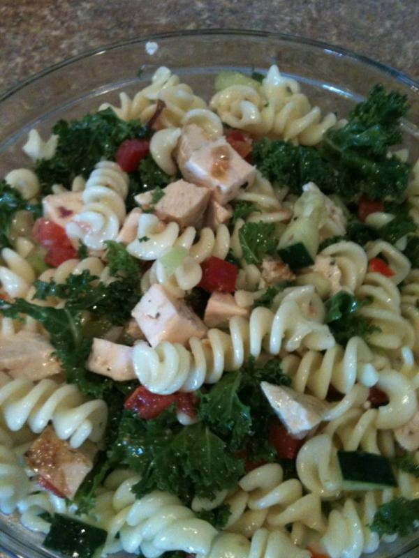 Chicken Pasta Salad {cold} ~mix tomato, cucumber, red bell pepper ...
